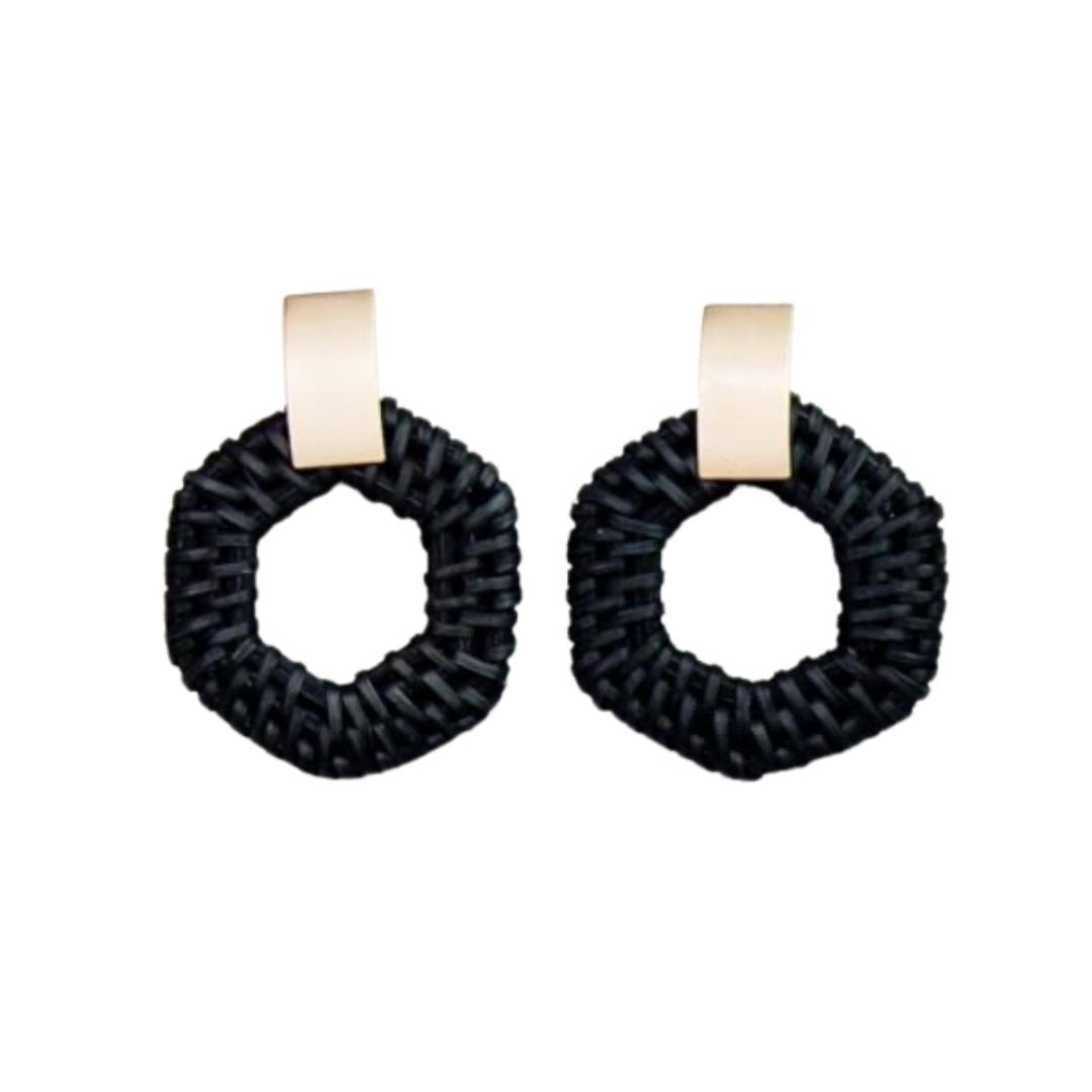 Black Circle Dangle Earrings