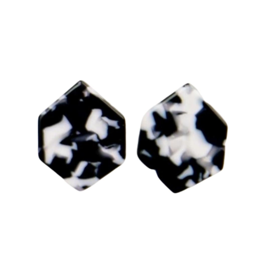 B&W Hexagon Earrings