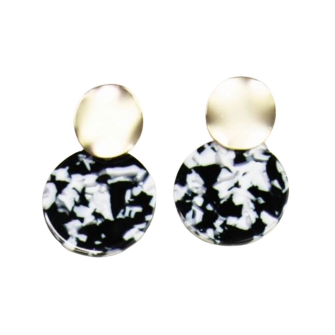 Black, White, & Gold Circle Earrings