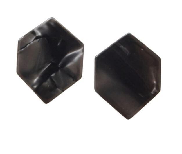 Charcoal Hexagon Earrings