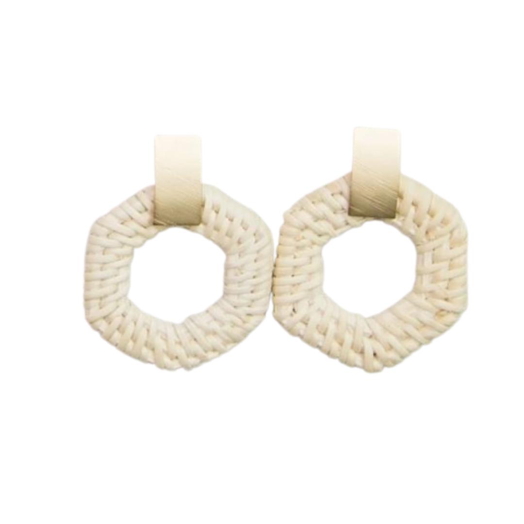 Tan Circle Dangle Earrings
