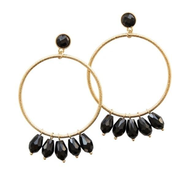 Black & Gold Jewel Hoops
