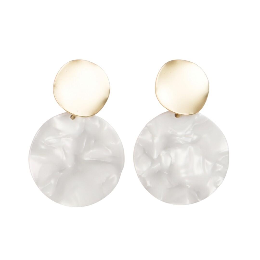 White & Gold Circle Earrings