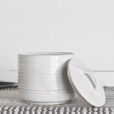 Lg White Ceramic Canister