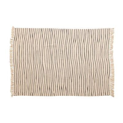 Gray/Natural Striped Fringe Throw
