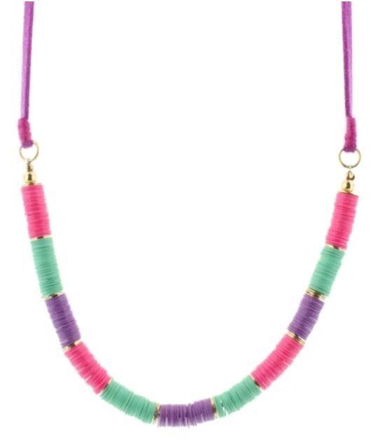 Kids Purple Sequin Beaded Necklace