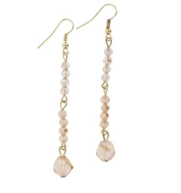 Gold & Nude Dangle Earrings
