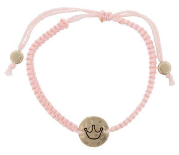 Kids Pink Crown Charm Bracelet