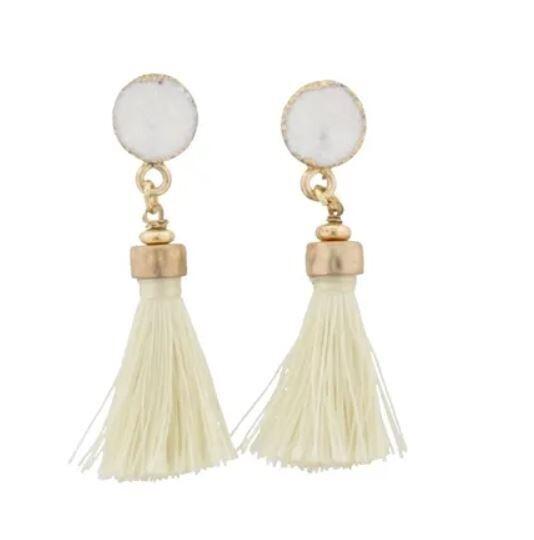 White & Gold w Cream Tassel Earrings