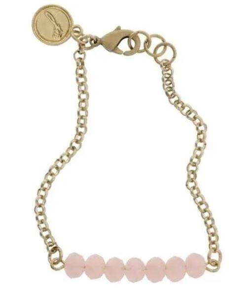Light Pink Beaded Chain Bracelet
