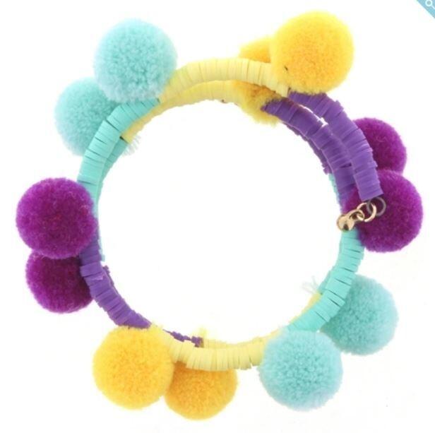 Kids Yellow Coil Pom Bracelet