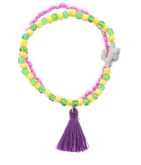 Kids Stretchy Cactus Beaded Tassel Bracelet Set