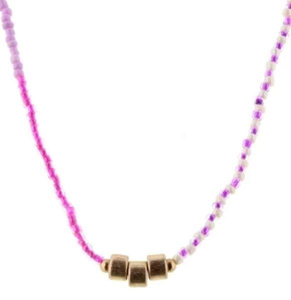 Kids Pink & Purple Beaded Tassel Necklace