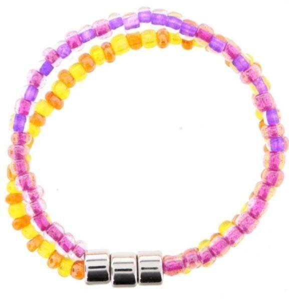 Kids Stretchy Double Beaded Bracelet - Orange & Pink