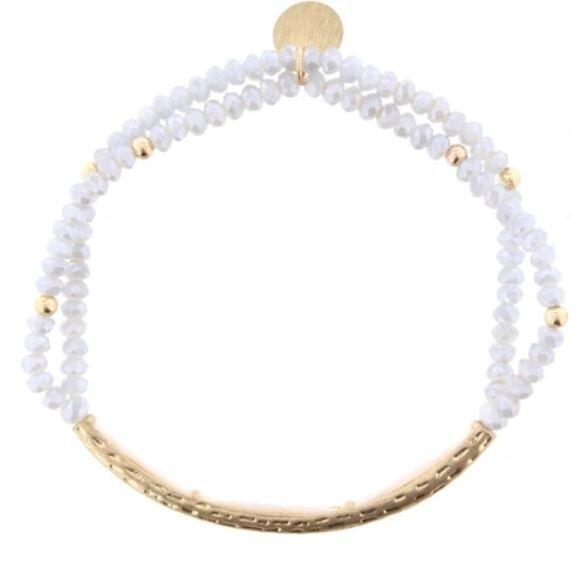 Double Strand Gold Bar Lt Gray Beaded Bracelet