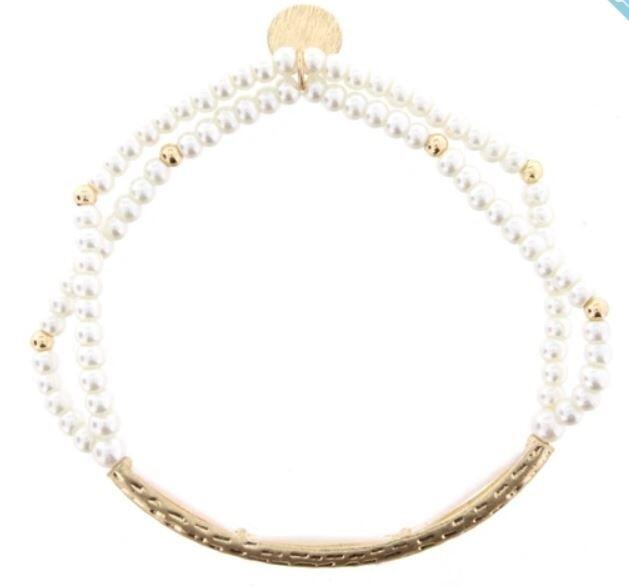 Double Strand Gold Bar Pearl Beaded Bracelet