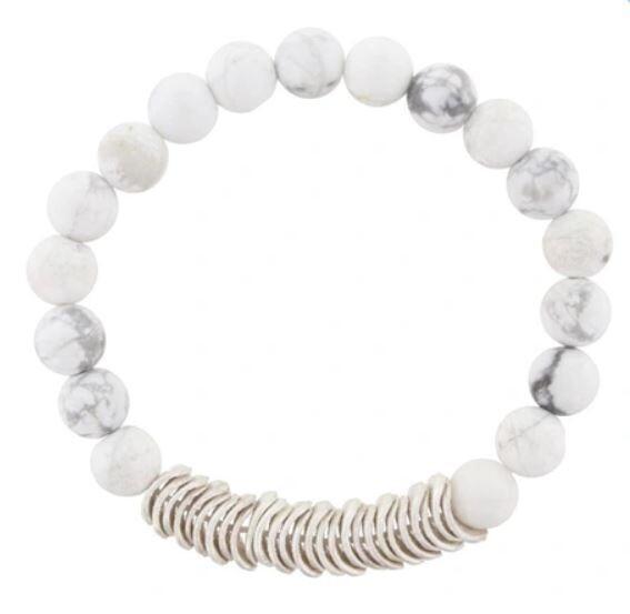 Gray & White Marble Glass Beaded Bracelet
