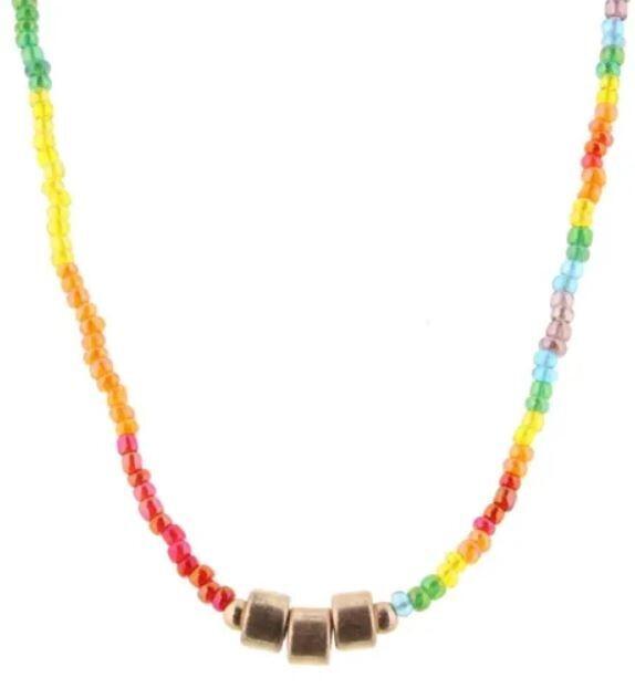 Kids Rainbow Beaded Tassel Necklace