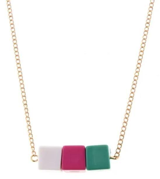 Kids Green Color Block Necklace