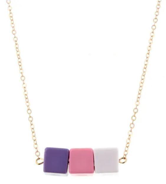Kids Pink Color Block Necklace