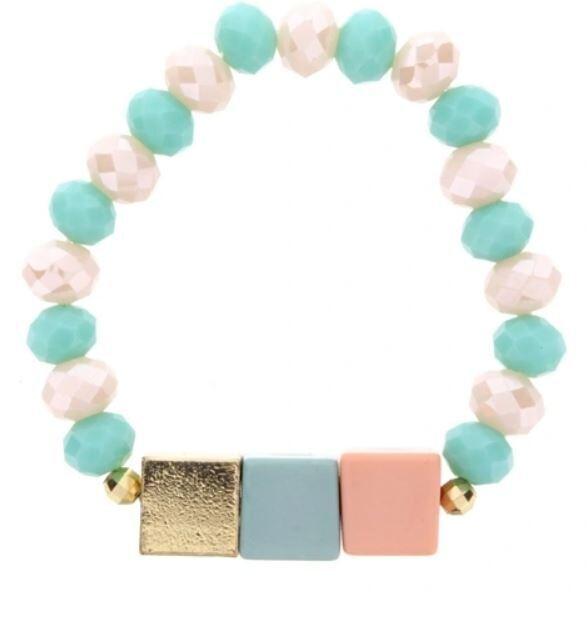 Kids Teal Color Block Beaded Bracelet