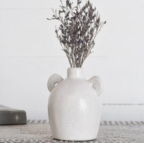 2 Handle Matte White Vase
