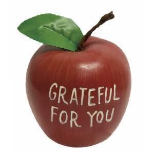 Grateful For You Engraved Wooden Apple