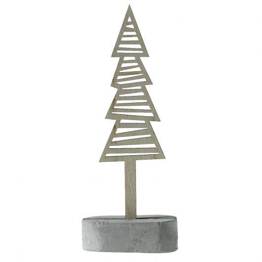Line Wood Tree w Cement Base