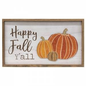 Happy Fall Y'all Distressed Wooden Frame Sign