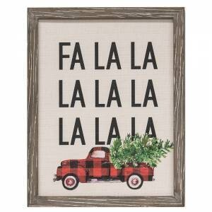 Fa La La La Buffalo Check Truck Canvas Print
