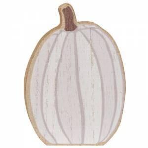 Sm White Distressed Chunky Pumpkin