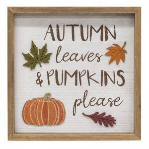 Autumn Leaves Distressed Wooden Framed Sign