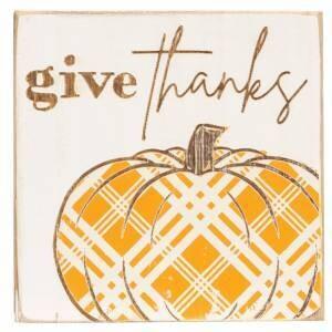 Give Thanks Plaid Pumpkin Block