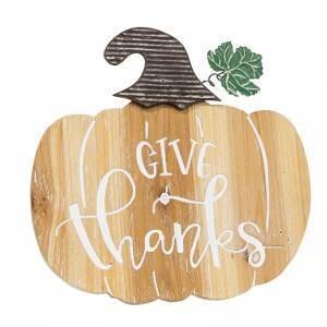 Give Thanks Engraved Wooden Pumpkin Sign W/ Easel Back