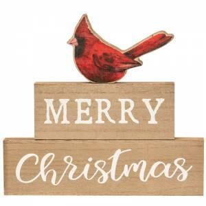 Set Of 3 Merry Christmas Cardinal Block Stackers