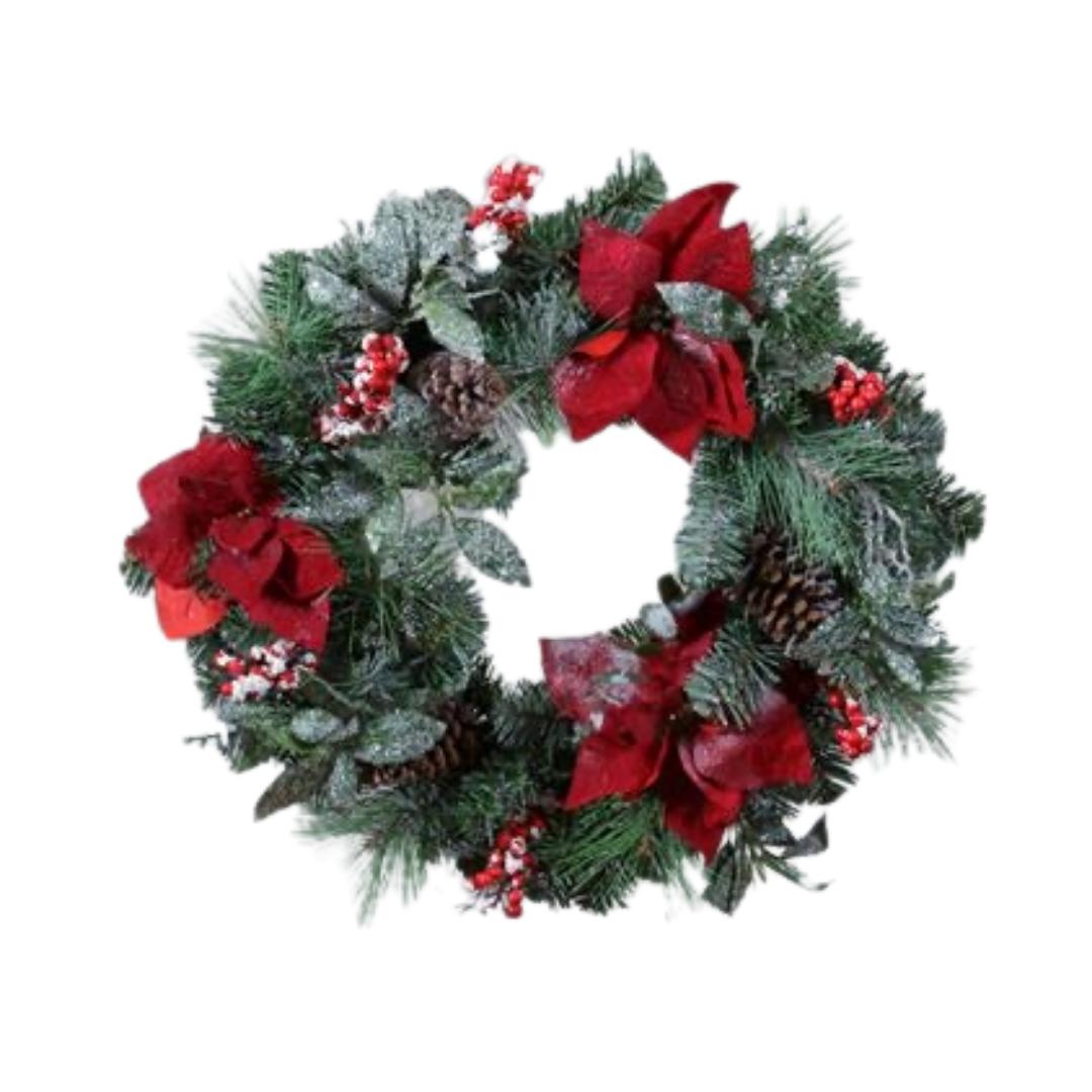 Poinsettia Berry Pinecone Wreath