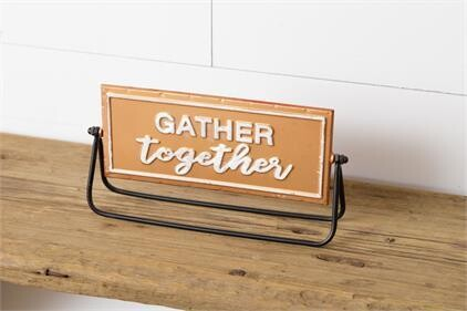 Gather/Merry Christmas Two-Sided Metal Sign