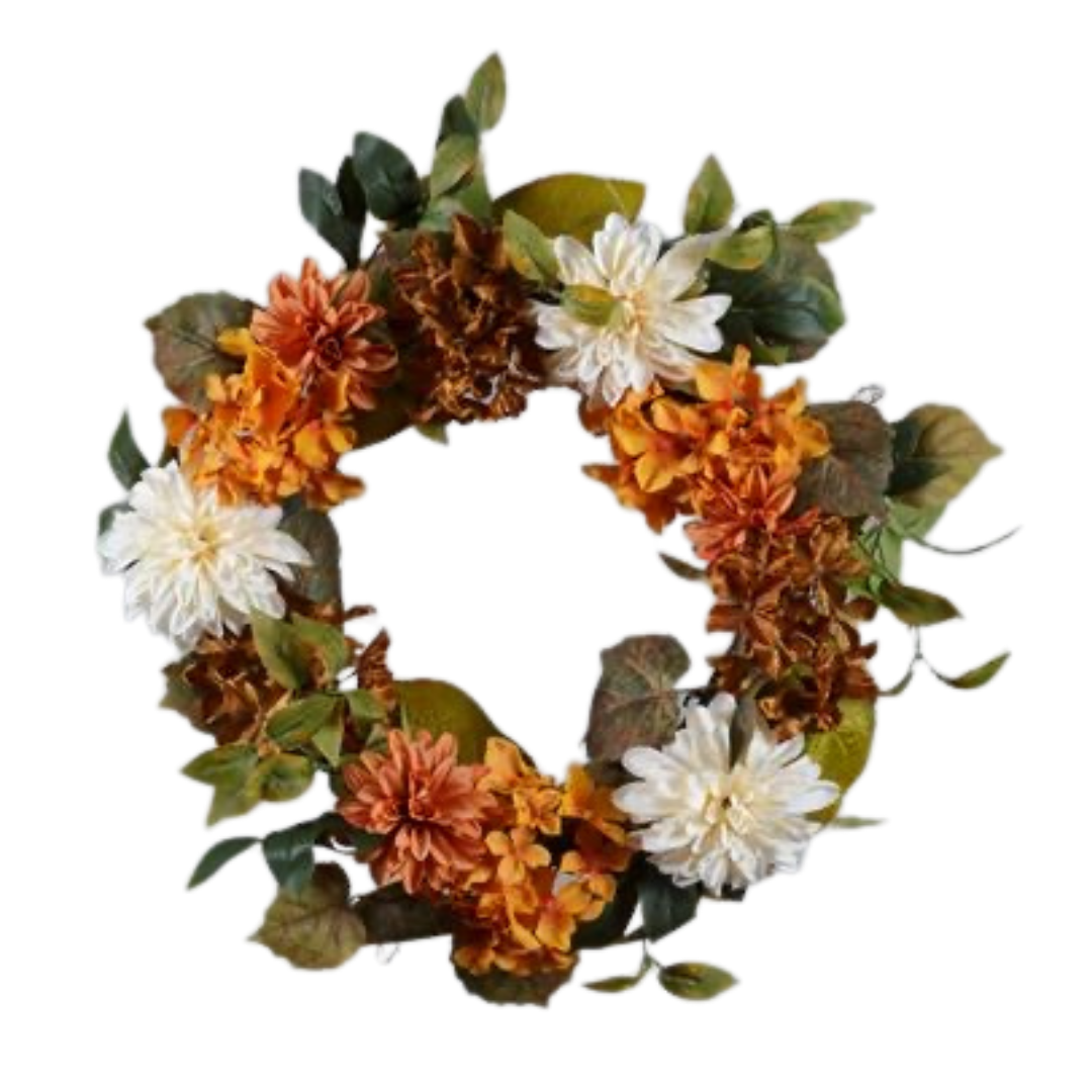 Fall Chrysanthemum & Hydrangea Wreath