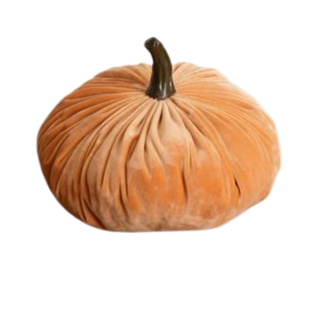Lg Orange Velvet Pumpkin