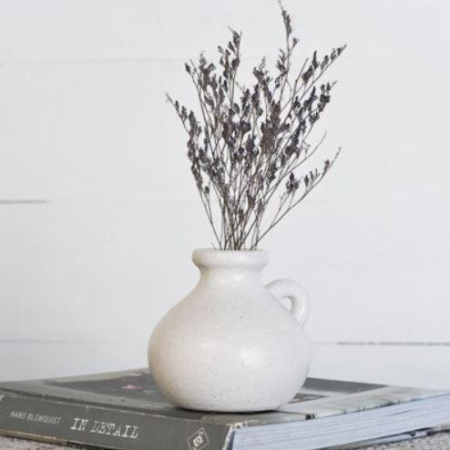 Sm One Handled White Glazed Vase