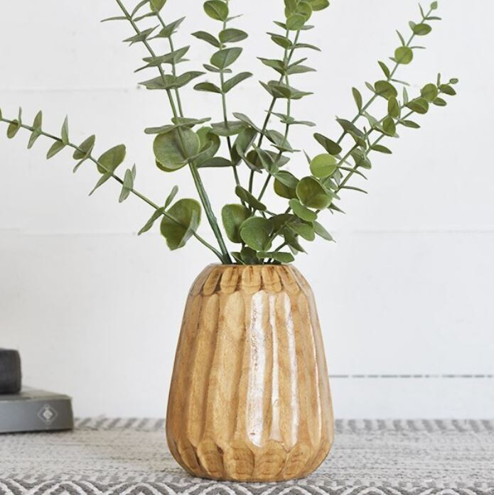 Carved Wood Striped Vase