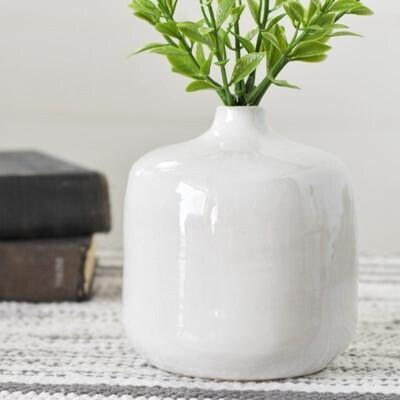 White Ceramic Round Vase