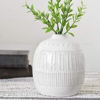 White Boho Vase