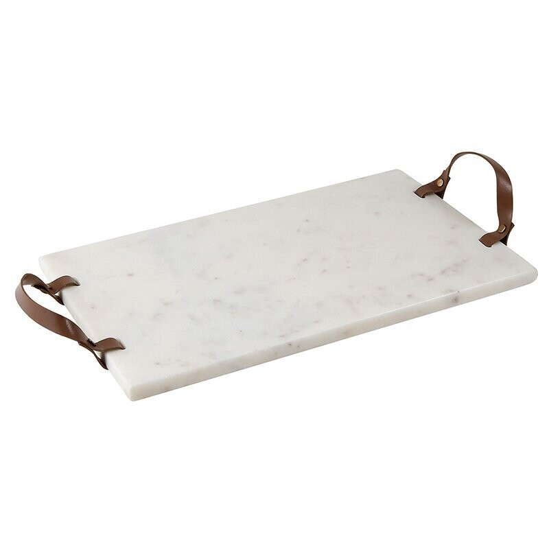 Leather Handled Marble Serving Tray