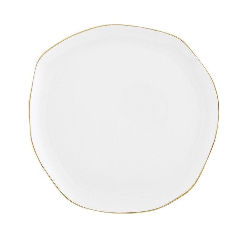 Med White & Gold Ceramic Tray