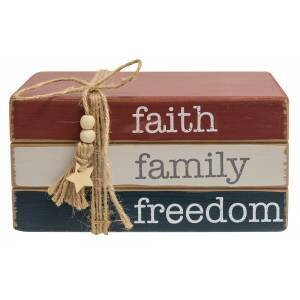 Faith Family Freedom Wooden Bookstack