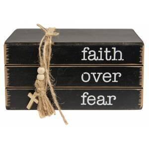Faith Over Fear Wooden Bookstack
