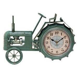 Teal Distressed Tractor Clock