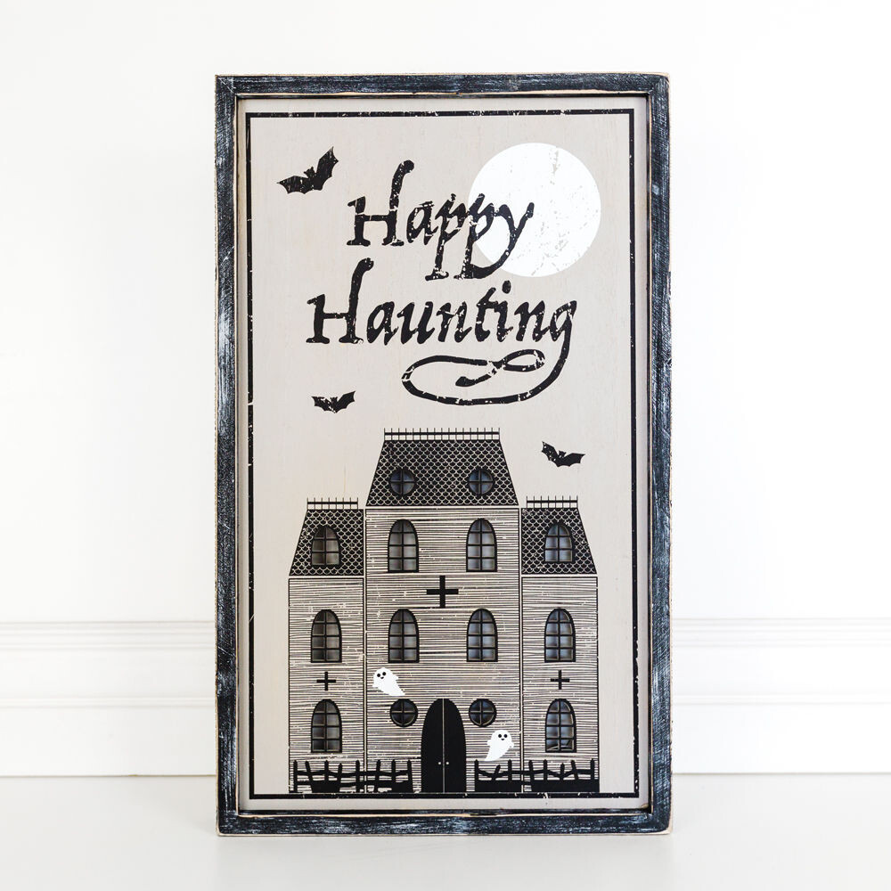 Haunted House Framed Sign W/ Lights