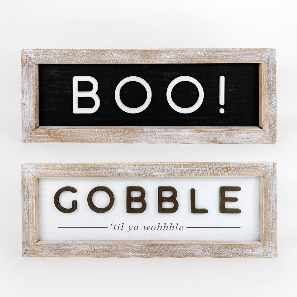 Boo/Gobble Reversible Framed Sign